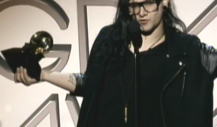Skrillex rocking a Falling Whistle while accepting his Grammy Awards!
